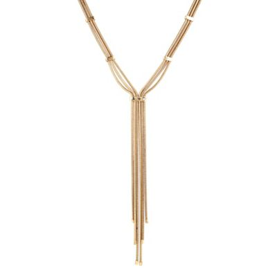 Betty Jackson.Black Antique gold multi snake chain lariat necklace - . -