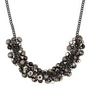 Statement grey tonal glass stone cluster necklace