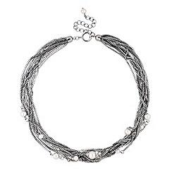 Betty Jackson.Black - Designer pearl and silver multi chain necklace