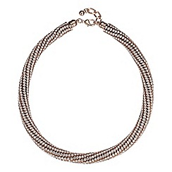 Betty Jackson.Black - Designer rose gold crystal encased collar necklace