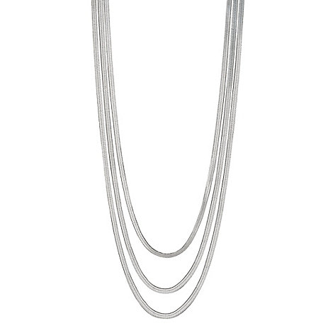 Betty Jackson.Black - Designer silver snake chain multirow necklace