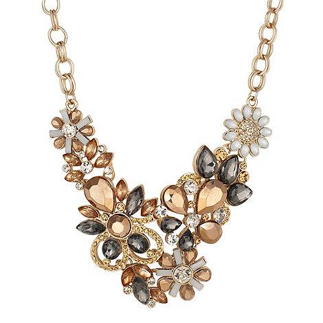 Betty Jackson.Black - Designer multi flower bronzed plaque necklace