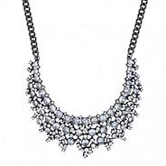 Designer crystal hematite cluster necklace