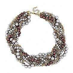 Betty Jackson.Black - Designer mixed pearl plaited chunky necklace