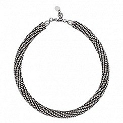 Betty Jackson.Black - Designer hematite crystal encased tube necklace