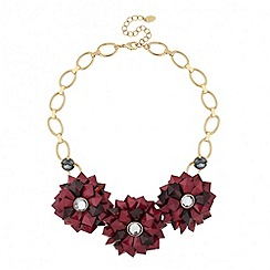Betty Jackson.Black - Designer 3-d red floral necklace