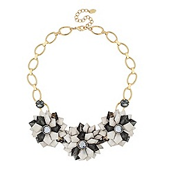 Betty Jackson.Black - Designer 3-d grey floral necklace