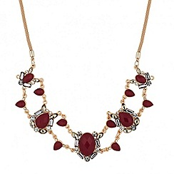 Betty Jackson.Black - Designer red oval and teardrop surround necklace