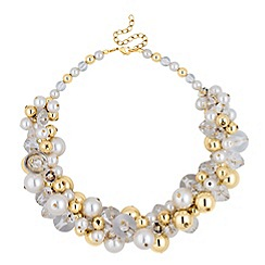 Betty Jackson.Black - Designer statement pearl and gold bead necklace
