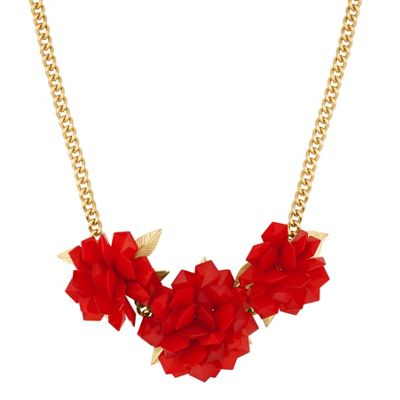 Betty Jackson.Black Designer 3-d red flower necklace - . -
