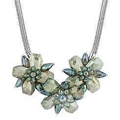 Betty Jackson.Black - Designer green crystal triple flower necklace
