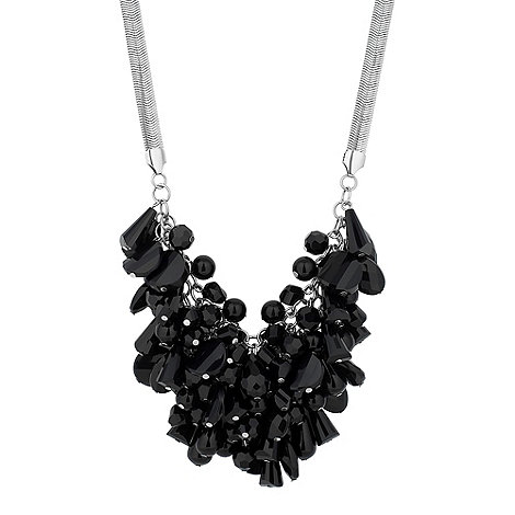 Betty Jackson.Black - Designer jet facet bead cluster drop necklace
