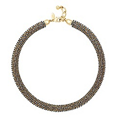Betty Jackson.Black - Designer grey crystal embellished collar necklace