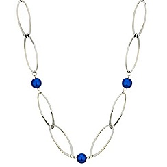 Betty Jackson.Black - Designer blue pearl and polished link long necklace