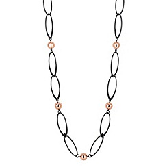 Betty Jackson.Black - Designer hematite twist and ball drop long necklace