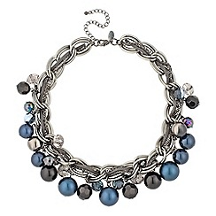 Betty Jackson.Black - Designer blue tonal pearl and bead chain necklace