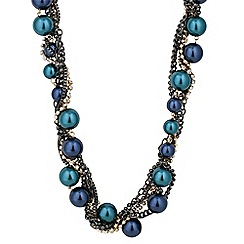 Betty Jackson.Black - Designer blue pearl and diamante twist necklace