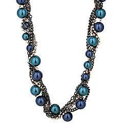 Betty Jackson.Black - Designer blue pearl and diamante twist necklace
