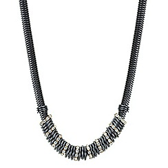 Betty Jackson.Black - Designer two tone crystal and polished disc necklace
