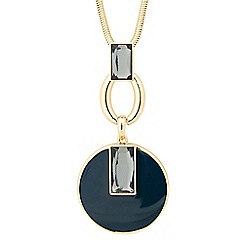 Betty Jackson.Black - Designer round teal pendant long necklace