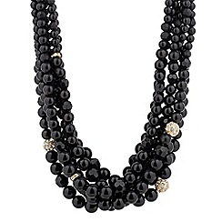 Betty Jackson.Black - Designer jet pearl and crystal ball multirow necklace