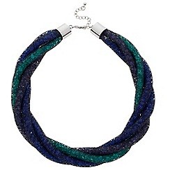 Betty Jackson.Black - Designer blue and green net twist necklace
