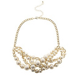 Betty Jackson.Black - Designer cream pearl multi row necklace