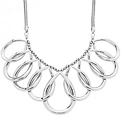 Betty Jackson.Black - Designer curved peardrop silver link necklace