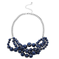 Betty Jackson.Black - Designer blue pearl multi row necklace