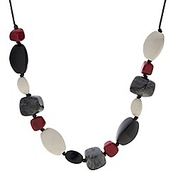 Betty Jackson.Black - Designer red and grey pebble bead necklace
