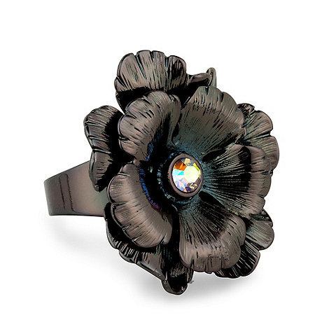 Betty Jackson.Black - Hematite and aurora borealis floral metal adjustable ring
