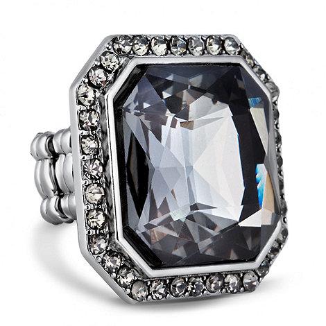 Betty Jackson.Black - Designer grey crystal surround stretch ring