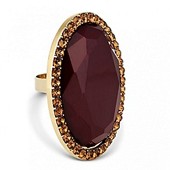 Betty Jackson.Black - Designer brown oval stone adjustable ring