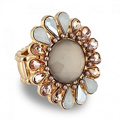 Betty Jackson.Black - Designer pastel stone floral stretch ring