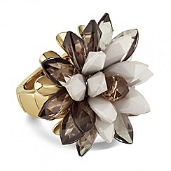 Betty Jackson.Black - Designer 3-d grey floral stretch ring