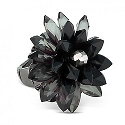 Betty Jackson.Black - Designer 3-d black flower adjustable ring