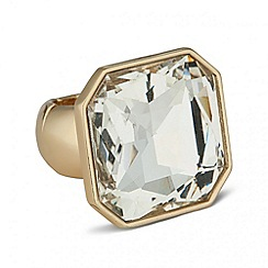 Betty Jackson.Black - Designer gold crystal square stretch ring