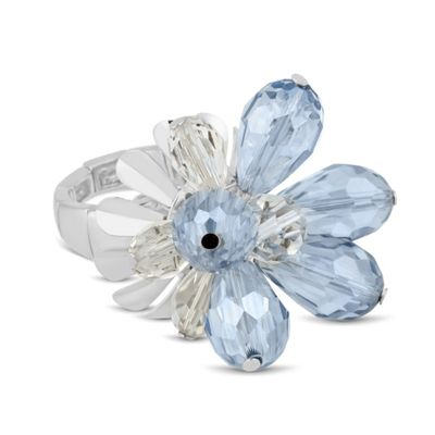 Betty Jackson.Black Designer 3-d blue flower stretch ring - . -
