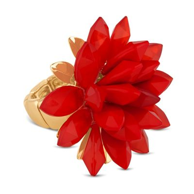Betty Jackson.Black Designer 3-d red flower stretch ring - . -