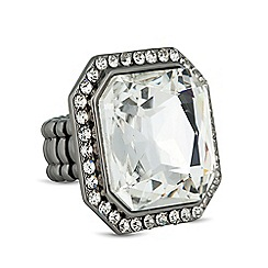 Betty Jackson.Black - Designer crystal stone surround stretch ring