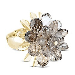 Betty Jackson.Black - Designer 3d grey flower stretch ring