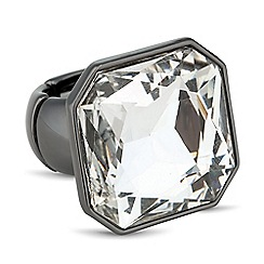 Betty Jackson.Black - Designer square crystal hematite stretch ring