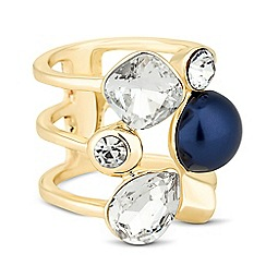 Betty Jackson.Black - Designer blue pearl and crystal cage ring