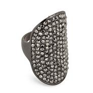 Jewelled hematite armour effect ring