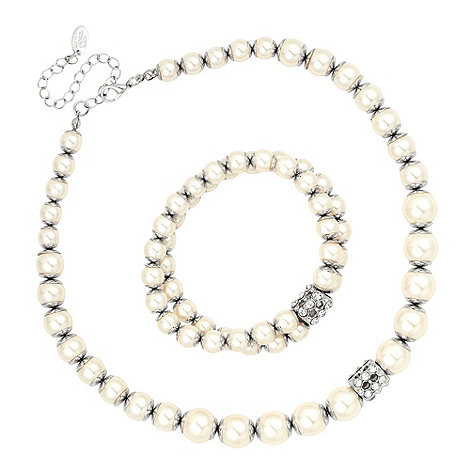 Betty Jackson.Black - White capped pearl and crystal rondel necklace and bracelet set