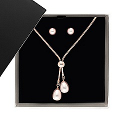 Betty Jackson.Black - Designer double rose gold pearl drop jewellery set