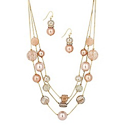 Betty Jackson.Black - Designer pink bead multirow necklace and earring set