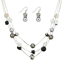 Betty Jackson.Black - Designer mixed grey bead necklace and earring set
