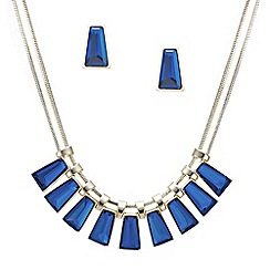 Betty Jackson.Black - Designer blue glass stone drop necklace and earring set
