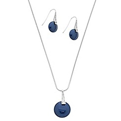 Betty Jackson.Black - Designer blue pearl button drop jewellery set